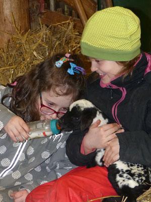 eine Schülerin hält eine Ziege, neben ihr sitzt eine Schülerin im Heu. Sie füttert die Ziege mit der Flasche
