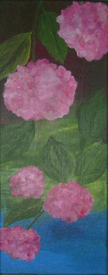 Hortensien, 2019, Acryl auf Leinwand, 20 x 50 cm