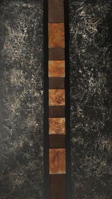 """""""Festigkeit"""", Acryl auf Leinwand 120 x 70 cm, Dekorationsverhärter, Kaffeesatz, Eisenplatten verrostet"""