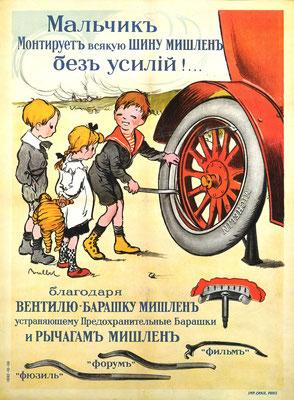 Een internationale affiche naar een ontwerp van Paulbot uit 1913. Banden verwisselen met Michelin is kinderlijk eenvoudig.
