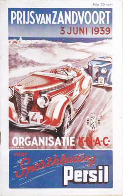 Programmaboekje van de eerste officiële (KNAC) autorace op de weg. De Nederlandse primeur voor Zandvoort in 1939.