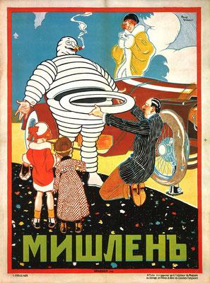Een Michelin affiche, in 1914 ontworpen door René Vincent voor Rusland.