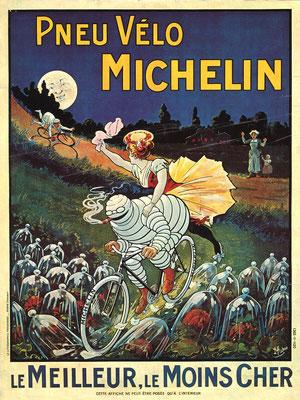 Een Franse affiche van Michelin voor fiets-banden.