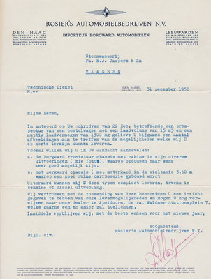 Brief uit 1958 van Borgward importeur Rosier.