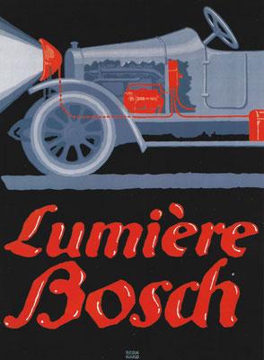 In 1914 ontwierp Lucian Bernhard deze poster voor het Bosch verlichting systeem voor auto's. De componenten  van dit eerste verlichting systeem voor auto's zijn uitgevoerd in fel rood.