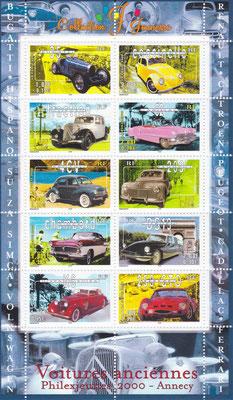 Postzegels Frankrijk uit 2000.