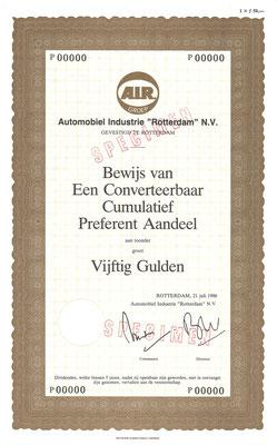 """Een aandeel Automobiel Industrie """"Rotterdam"""" N.V. uit 1986 (specimen)."""