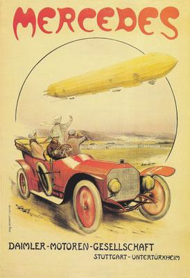 Franse affiche uit 1911 van Henri Rudeaux met een Mercedes 14/30 pk open toerwagen en een zeppelin.