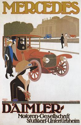 Affiche uit ~ 1910. Een Mercedes in de Stuttgarter paleistuinen. Het gebouw werd in gebruik genomen als Staatsopera en bestaat nog.
