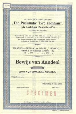 """Aandeel f 500,- N.V. """"The Pneumatic Tyre Company"""" uit 1898 (specimen)."""