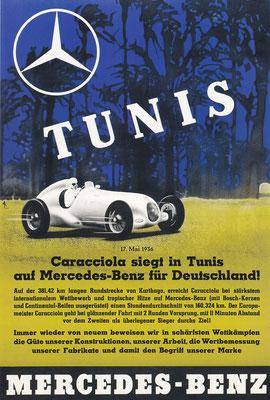 Affiche voor Mercedes-Benz uit 1936.