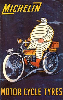 Een Engelse poster van Michelin voor motorfiets banden.