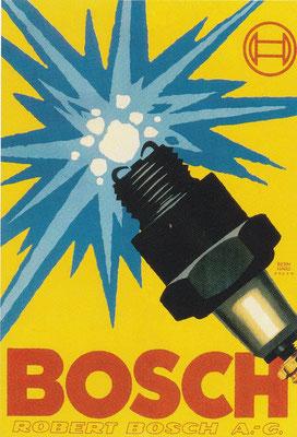 Deze advertentie uit 1930 voor Bosch met een vonkende bougie, was een ontwerp van Lucian Bernhard.