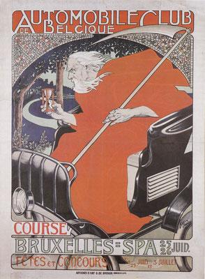 Één van de eerste affiches waarmee reclame werd gemaakt voor een auto-wedstrijd, ontworpen in 1898 door Georges Gaudy.