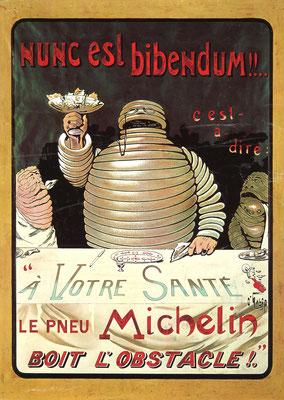 """Hét ontwerp van O'Galop uit 1898 met de titel """"Nunc est Bibendum"""". Op uw gezondheid en Bibendum drinkt ieder obstakel, in dit geval glasscherven."""