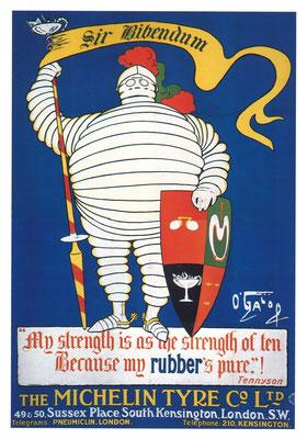 Op deze Michelin affiche van O'Galop uit 1905 wordt Bibendum geridderd. In dat jaar opende The Michelin Tyre Co. in Engeland.