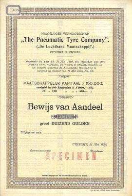 """Aandeel f 1.000,- N.V. """"The Pneumatic Tyre Company"""" uit 1898 (specimen)."""