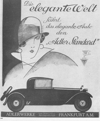 Advertentie Adler uit 1929.