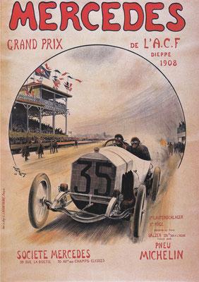 Franse affiche uit 1908 van Henri Rudeaux met winnaar Christian Lautenschlager in een Mercedes 140 pk tijdens de 3e Grand Prix van Frankrijk.