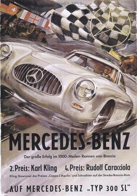 Affiche voor Mercedes-Benz van Hans Liska uit 1952.