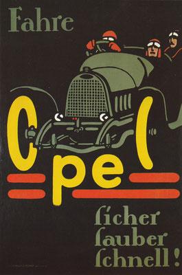Affiche Opel van vóór 1914.