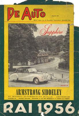 Reklame voor zowel het weekblad De Auto als de RAI 1956.