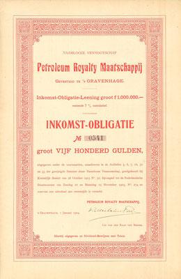 Een inkomst-obligatie van N.V. Petroleum Royalty Maatschappij uit 1904.