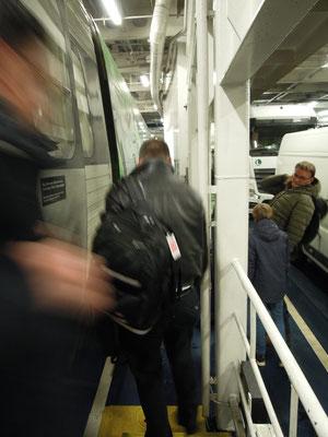 An Bord der Fähre: Ausstieg aus dem EC auf dem Weg von Hamburg nach Kopenhagen. Foto: C. Schumann, 2019