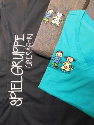 Softshell und T-Shirt bestickt