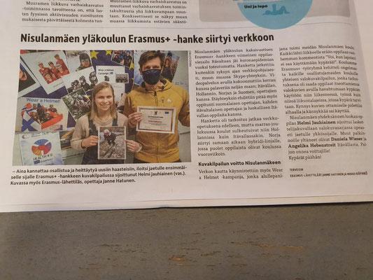 "Newspaper article about ""Waer a Helmet"" challenge (finnish)"