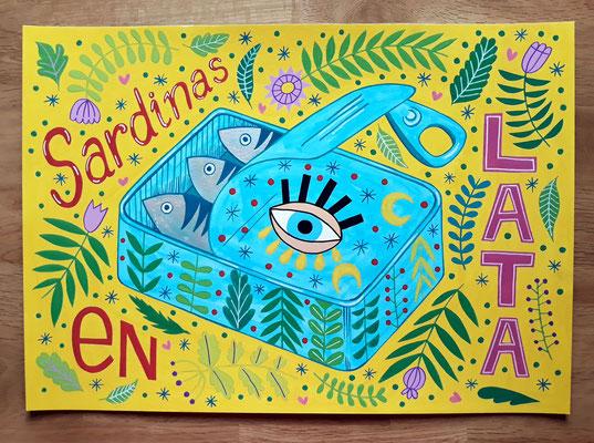 SARDINAS EN LATA, gouache sobre papel, 30 x 42 cm. Teruel, 2020.