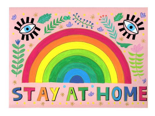 STAY AT HOME, gouache sobre papel, 24 x 32 cm. Teruel, 2020.