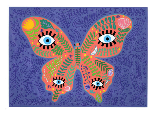 MARIPOSA, gouache sobre papel, 24 x 32 cm. Teruel, 2020.