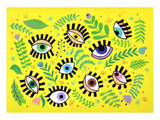 OJOS, gouache sobre papel, 24 x 32 cm. Teruel, 2020.