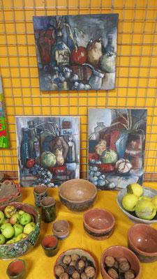 Peintures de Molly Sheridan et Poteries de Chantal Desdouets