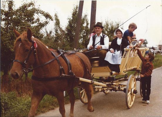 Paard Jelle met Oostenrijkse oogstwagen