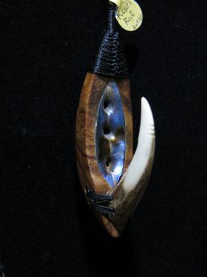 #5 : Fish Hook / Kauri Root + Paua Shell + Deer Abtler