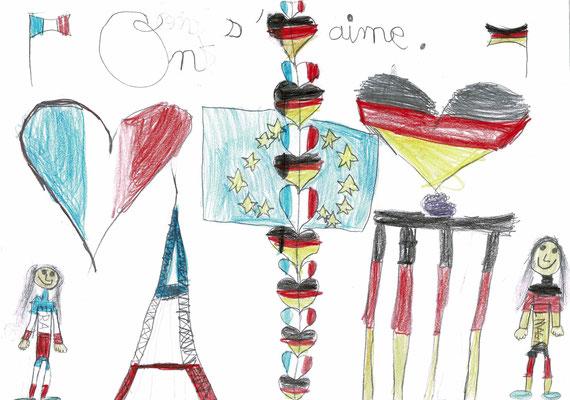 1er prix CE1 - Bravo Jade pour ton dessin qui résume parfaitement l'amitié franco-allemande ! (Maîche - 25)