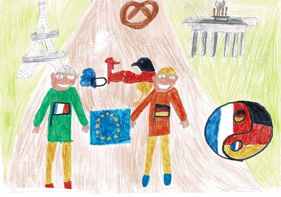 1er prix CE2 - Bravo Victor pour ton très beau dessin et cette harmonie des symboles culturels ! (Villers-le-Lac - 25)