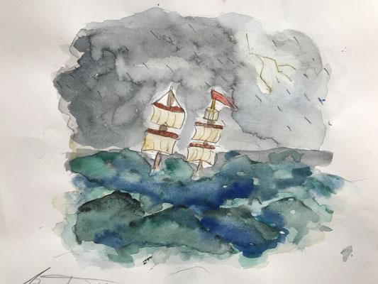 Windjammer auf Meer 1