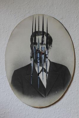 """""""Violence machine"""", Collage auf antiker Fotografie, 40x30cm, 2019"""