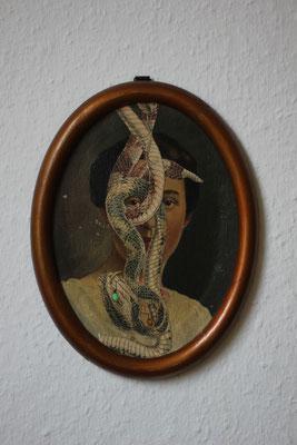 """""""Ich habe alles gesehen was es nicht gibt"""", Collage auf antikem Ölgemälde, 26x19cm, 2019"""