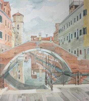 Ponte Nuovo u. Arsenale, Otto Eberhardt, 1995, Aquarell, Papier, 53x60cm, ID1539