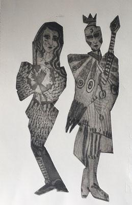 (c) Bianca Scheich, Leben und Tod, Radierung, 50 x 60 cm, 2020