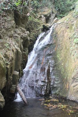 Kleiner Wasserfall am Strassenrand.