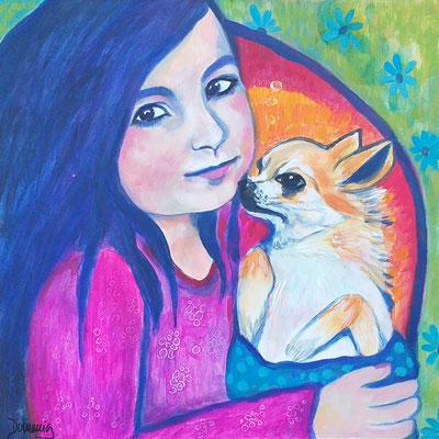 Amy mit Cocobär.  Acryl auf Malplatte. 40x40cm.