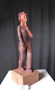 Zangeres, hoogte 32 cm, rode chamotteklei 0-1 mm, glazuurbrand 1060 `C