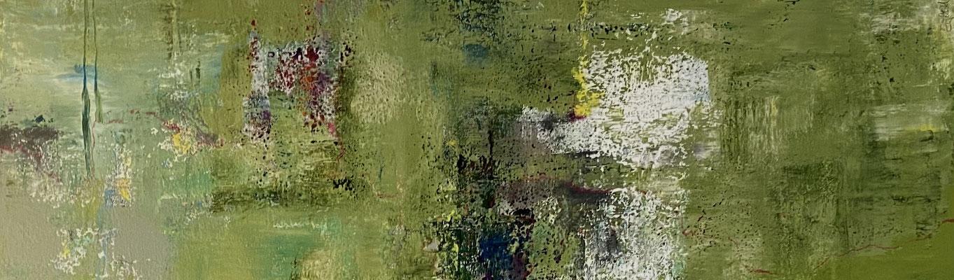 Acrylfarbe und Ölpastellkreide auf Leinwand 40 x 120 cm