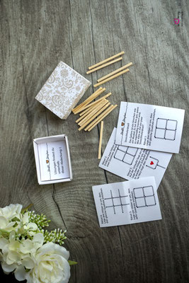 Streichholzschachtel-Spiel, Streichholzrätsel - Hochzeit Steffi & Stephan