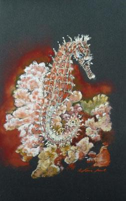 """Ride across the corals"" Pastell 12x24xm, PastelPencils on black UART Premium Sanded Paper 400 grade. (C)D.Saul 2016"